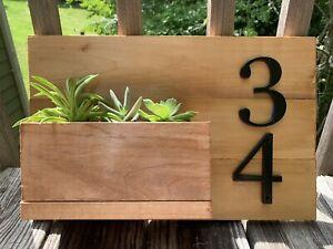 Wooden Address Planter Box
