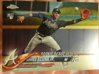 2018 Topps Chrome Baseball RONALD ACUNA JR RC DEBUT ATLANTA BRAVES ROOKIE SP KC