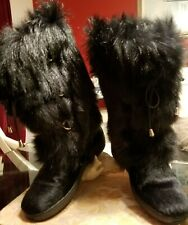 OSCAR SPORT Julia Apres Ski - Black Tall Fur Laced Boots US 7.5 / EU 38