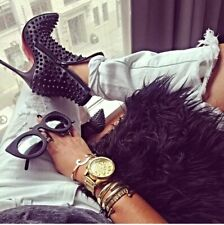 Timeless Christian Louboutin Snakilta 120 Spiked Black Matt Ankle Boots 38
