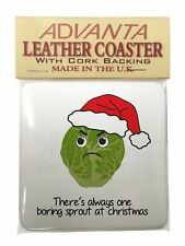 Christmas Grumpy Sprout Single Leather Photo Coaster Animal Breed Gif Sprout1sc