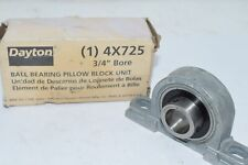 NEW DAYTON 4X725 Pillow Block Bearing, Ball, 3/4 Bore