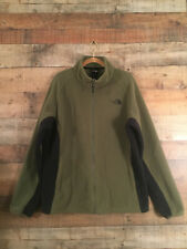 The North Face Men's Fleece Jacket Size L Full Zip Olive Green/Black Mock Neck