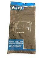 """Black Plastic Table Cover    Party Tablecloth Rectangle 54"""" x 108"""