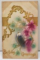 Birthday Greetings Bird Flowers Airbrushed Embossed Postcard E6