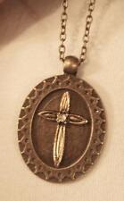 Handsome Starburst Rim Fluted Rhinestone Cross Brasstone Pendant Necklace