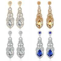 Rhinestone Silver Crystal Long Drop Dangle Diamante Bridal Wedding Earrings New