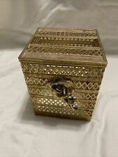 Vintage Tissue Box Holder/cover, Square, Metal - Gold, Floral, Ornate, 4.75x4.75