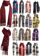 New Winter Womens Mens 100% Cashmere Wool Wrap Scarf Scotland Made Plaid Scarves