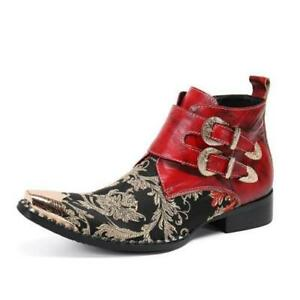 Fashion Men's Printed Buckle Strap Pointy Toe Leather Shoes Winter Ankle Boots