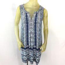 J. JILL WOMENS STRETCH SLEEVELESS SHIFT DRESS SZ SMALL Blue White V-neck