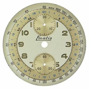 NOS Valjoux Cal 77. E. Mathey-Tissot Chronograph (Ematis) Wristwatch Dial, 1940