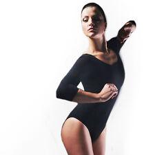 Damen Gymnastikanzug Ballettanzug Trikot Turnanzug Ballettbody Tanztrikot 3/4