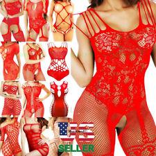 Merry Christmas Gift Women Babydoll Sleepwear Body Stockings Bodysuit Lingerie