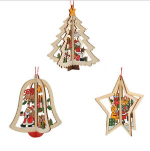 3pcs Wooden Jingle Bell Five-Pointed Star Christmas Tree Pendant Decoration