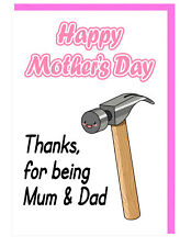 Funny Humour - Mum - Stepmum - Mothers Day Card - Thanks For Being Mum And Dad