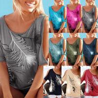 Women Cold Shoulder Blouse Shirt Short Bat Sleeve Summer Casual Tops Pullover