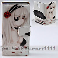 For LG Series Mobile Phone  Black Angel Anime Print Wallet Flip Case Phone Cover