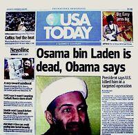 USA Kills Bin Laden 2011 Newspaper USA Today 5/2/11 WTC 9/11 Al Qaeda Rare VTG