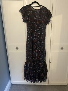 Lily And Lionel Navy Floral Ruffle Dress Medium