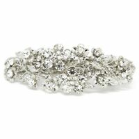 NEW Woman hair barrette Rhinestones Crystal silver plated Metal hair claws clips