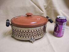 Rare Antique Vintage Weller Oval oven Crock pot with Cover, metal Stand