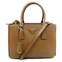 New Prada 1BA863 F0401 Saffiano Lux Cannella Brown Double Zip Leather Handbag