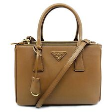 New Prada 1BA863 F0401 Saffiano Lux Cannella Brown Double Zip Leather Handbag