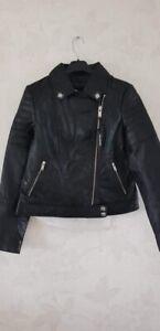 Barneys Originals Leather Biker Jacket Size 12