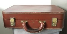 VINTAGE ANTIQUE BROWN LEATHER SMALL SUITCASE BRIEFCASE LUGGAGE