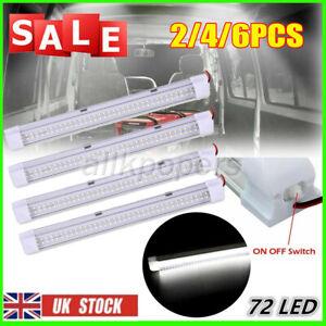 2/4/6PCS 72 LED 12V Interior Light Strip Bar 12 VOLT Car Van Bus ON/OFF Switch