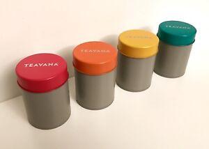 TEAVANA Airtight Tea Tin Set of Four (2oz each)  * Made in Japan * RARE