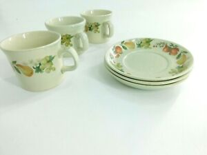 Set of 3 Vintage Cups and Saucers by Wedgwood Quince Fruit Motif Oven to Table