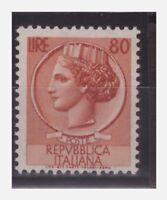ITALIA 1956 - SIRACUSANA Lire 80 STELLE SECONDO TIPO 65° DX   NUOVO **