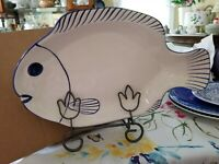 Fish Platter Made In Italy Zanolli hand painted.