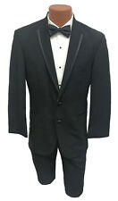 Men's Black La Strada Tuxedo Jacket Two Button Modern Fit Satin Trimmed Lapel