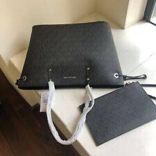 MICHAEL KORS 100% Drawstring Tote & Clutch Bag Black MK Signature Logo TAGS NEW