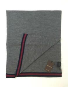 New Gucci Men Wool Scarf Gray with Signature Web Trim 327377