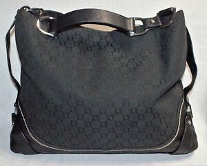 NEAR NEW/RRP$599 OROTON Large Black Signature Designer Shoulder Bag/Hobo Handbag
