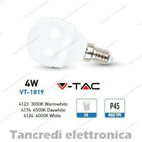 Lampadina led V-TAC 4W = 30W E14 VT-1819 P45 miniglobo bianca lampadine smd VTAC