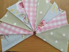 Handmade Bunting Clarke Rose Laura Ashley Pink Gingham Clarke Green Spot Fabric