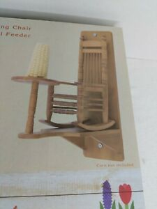 Cracker Barrel Wooden Rocking Chair Squirrel Feeder NEW in Box Exclusive