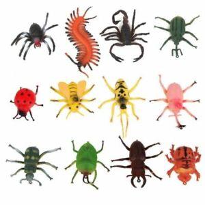12Pcs Mini Plastic Insect Bugs Model Action Figure Kids Toys Gifts Jungle Decor