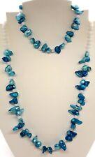 Freshwater Teal Pearl & Quartz silver necklace & bracelet - June Birthstone