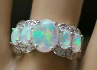Antique Deco Jewellery Ring opal white sapphires Dress Vintage Jewelry