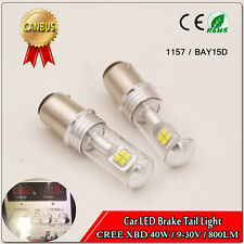 2x CREE 40W White LED BAY15D 1157 P21/5W Dual Bayonet Tail Stop Light Bulbs AC
