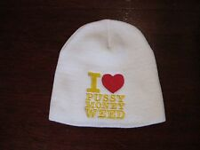 I LOVE WEED MONEY WINTER WHITE BEANIE HAT LUSH LIFE SUPREME NY DGK Stussy ALIFE