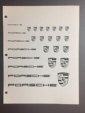 1987 / 1988 Porsche B&W Script & Crest  Clip Art -- Pictures, Print, Poster RARE
