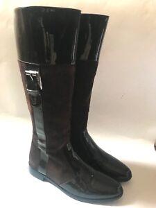 GIANFRANCO FERRE Super schicke braune Leder Stiefel Velours / Lackleder Gr.36