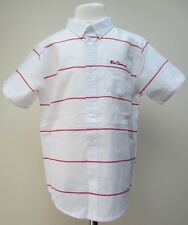 Boys Ben Sherman Short Sleeve Shirt 100% Cotton White Red Blue Ages 3 to 13 BNWT
